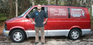 Myrtle Beach mobile auto repair van with Ace the ASC mechanic.